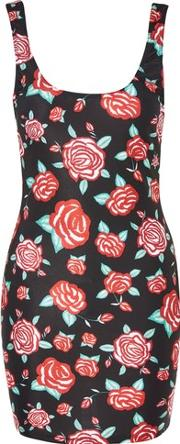 Jaded London , Womens Rose Print Bodycon Mini Dress By