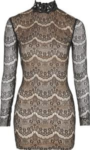 Rare , Womens Contrast Lace Long Sleeve Dress By