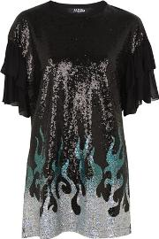 Jaded London , Womens Sequin Flames Oversized T Shirt Dress By