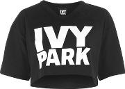 Ivy Park , Womens Logo Cropped V Neck Tee By