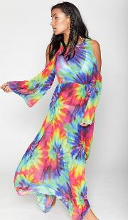 Jaded London , Womens Rainbow Tie Dye Maxi Beach Dress By