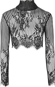Motel , Womens Lara High Neck Lace Crop Top By