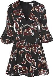 Rare , Womens Floral Print Fluted Sleeve Shift Dress By