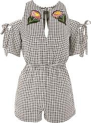 Rare , Womens Gingham Bardot Playsuit By