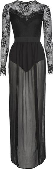 Rare , Womens Lace And Mesh Illusion Maxi Dress By