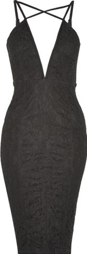 Rare , Womens Strappy Plunge Lace Midi Dress By