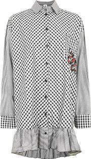 The Ragged Priest , Womens Gingham Oversized Button Shirt By