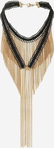 Topshop , Womens Drape Chain & Tassel Choker Necklace