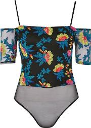 Topshop , Womens Floral Embroidered Bardot Bodysuit