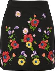 Topshop , Womens Floral Embroidered Mini Skirt