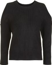 Topshop , Womens Petite Cold Shoulder Rib Knitted Jumper