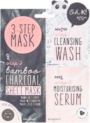 Topshop , Womens Three Step Charcoal Sheet Mask