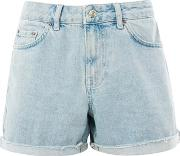 Topshop , Womens Moto Bleach Boyfriend Shorts