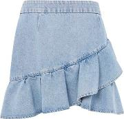 Topshop , Womens Moto Denim Ruffle Skirt