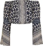 Band Of Gypsies , Womens Tile Print Flute Sleeve Bardot Top By