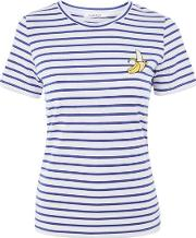 Glamorous Tall , Womens Banana Embroidery Striped T Shirt By