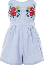 Glamorous Tall , Womens Bandeau Embroidered Playsuit By