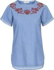 Glamorous , Womens Embroided Denim T Shirt By