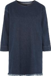 Waven , Womens Denim T Shirt Dress With Rip And Repair By