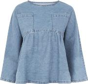 Waven , Womens Denim Top With Gathered Waistband And Cropped Sleeves By