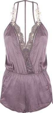 Topshop , Womens Lace And Satin Pyjama Teddy