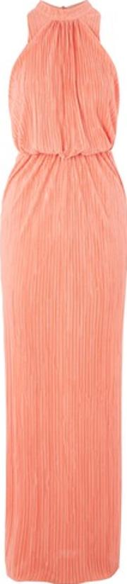 Love , Womens High Neck Pleat Maxi Dress By
