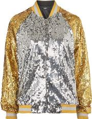 Jaded London , Womens Gold And Silver Bomber Jacket By