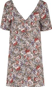 Glamorous , Womens Button Front Floral T Shirt Dress By