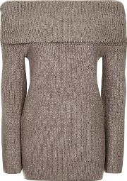 Topshop , Womens Soft Oversized Bardot Jumper