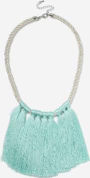 Topshop , Womens Cord And Tassel Drop Choker Necklace