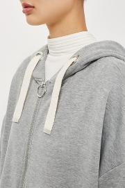 Topshop , Womens Ruched Sleeve Hoodie By Boutique