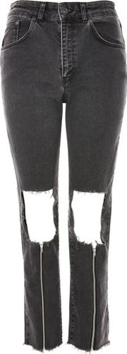 The Ragged Priest , Womens Scratch Rip Knee Mom Jeans By