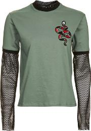 The Ragged Priest , Womens Patch T Shirt With Mesh Detail By Ragged Priest