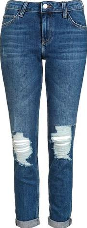 Topshop , Womens Moto Blue Ripped Lucas Jeans