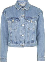 Topshop , Womens Moto Fitted Denim Jacket