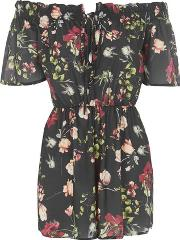 Oh My Love , Womens Off Shoulder Tie Front Playsuit By