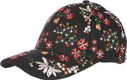 Topshop , Womens Floral Embroidered Cap