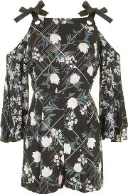 Topshop , Womens Fluted Sleeve Playsuit