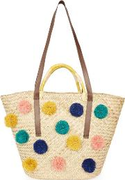 Topshop , Womens Summer Pom Pom Straw Tote Bag
