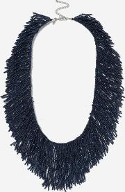 Topshop , Womens Seed Bead Tassel Collar Necklace