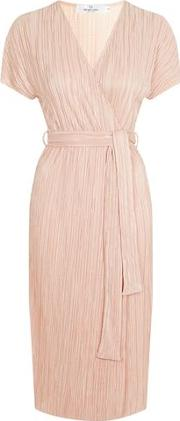 Oh My Love , Womens Wrap Front Midi Pleat Dress By