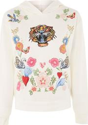 Topshop , Womens Tiger Print Embroidered Hoodie