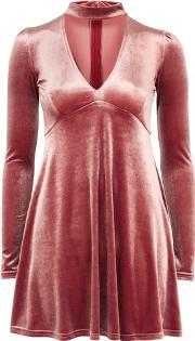 Oh My Love , Womens Plunge Front High Neck Dress By