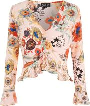 Topshop , Womens Tall Star Floral Cropped Top