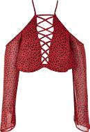 Womens Animal Print Lace Up Crop Blouse By