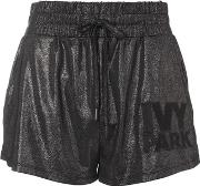 Ivy Park , Womens Lame Logo Runner Shorts By