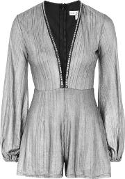 Rare , Womens Metallic Plunge Playsuit By
