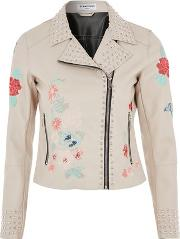 Glamorous , Womens Embroidered Biker Jacket By