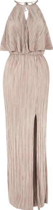 Oh My Love , Womens Pleated High Neck Maxi Dress By