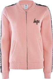 Hype , Womens Dusty Pink Justhype Taping Bomber Jacket By Hype